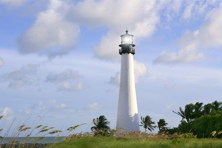 Lighthouse in Key Biscayne Florida sunset blue sky photo