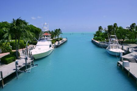 waterway: Florida Keys fishing boats in turquoise tropical blue waterway