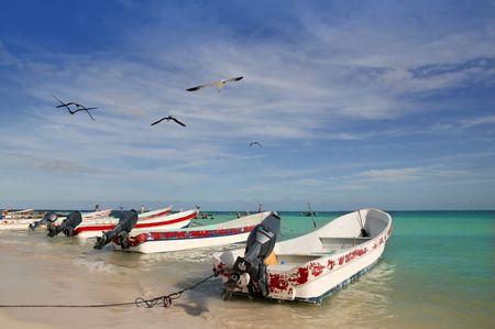 morelos: Mayan Riviera Mexico Puerto Morelos beach boats turquoise Caribbean sea