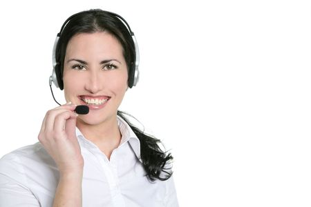 Brunette beautiful businesswoman headset microphone headphots Stock Photo - 6465963