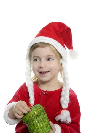 Santa little girl with green present box in hands over white    photo