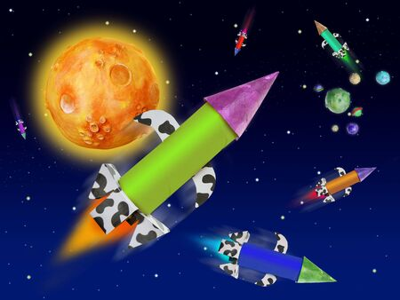 Colorful fantasy rocket flying into blue space planets and stars photo
