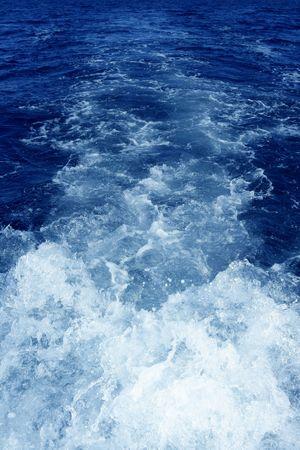 Boat wake foam water propeller wash blue saltwater Stock Photo - 6542319