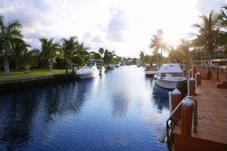 Florida Pompano Beach waterway in evening sunset