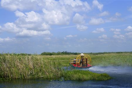 everglades national park: Airboat in Everglades Florida Big Cypress National Preserve   Stock Photo