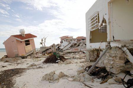 devastation: Cancun Caribbean houses after hurricane storm crash disaster