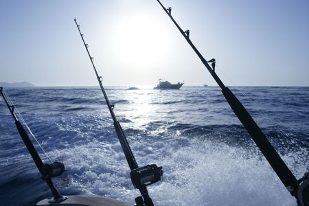 charter: Boat trolling fishing on Mediterranean Ibiza Balearic Islands Stock Photo