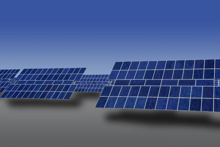 clean  electric: Clean electric energy solar plates generators blue sky