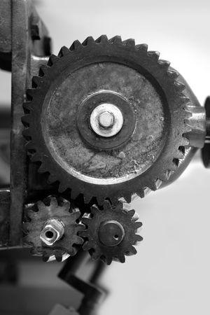 Black and white gear macro detail as a teamwork metaphor concept photo
