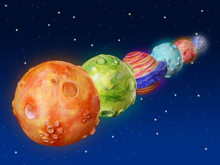 Space planets fantasy handmade colorful universe galaxy photo
