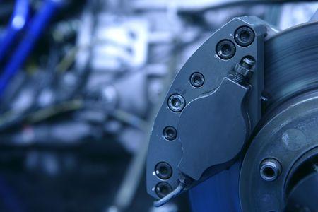 frenos: Detalle de macro de frenos de disco con motor