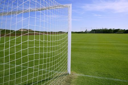 soccer goal: Net soccer goal football green grass field sunny day outdoors