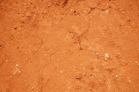 in ground: Rosso del suolo trama sfondo, superficie di argilla secca  Archivio Fotografico