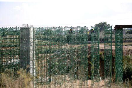 Building scaffolding for formwork, railway construction photo