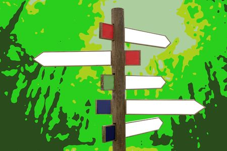 Crossroad wooden directional arrow signs copy space in green forest background photo