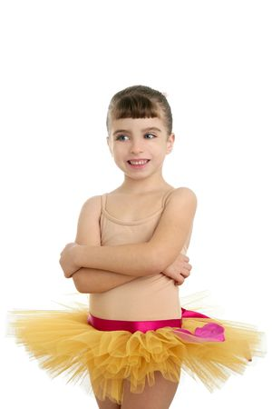Ballerina little girl portrait posing at studio white background photo