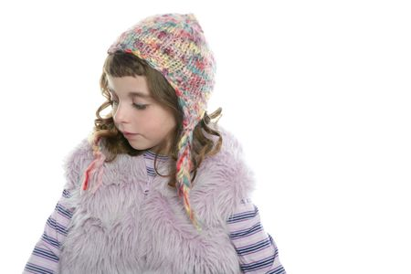 Winter little girl wool hood and fur coat on white background photo