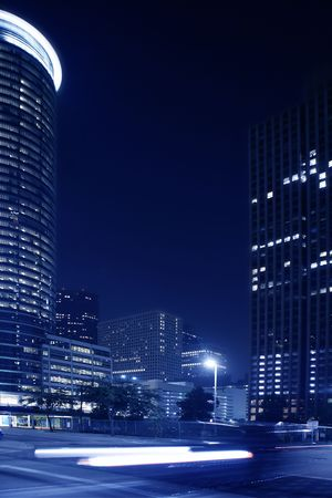 Blue night city lights and buildings in Houston downtown Texas