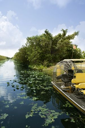 swampland: Airboat in Everglades Florida Big Cypress National Preserve   Stock Photo