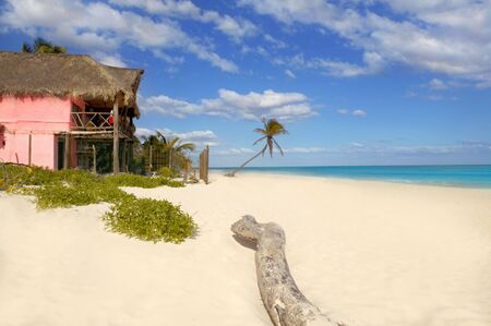 Caribbean sand beach tropical houses in Mexico mayan riviera Stock Photo - 6703267
