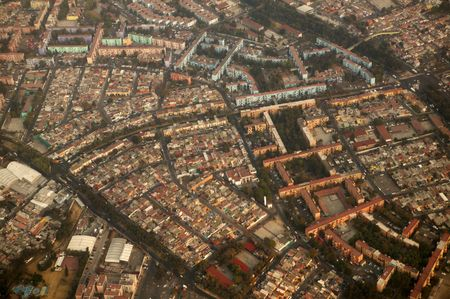 mexico df city town aerial view from airplane central america photo