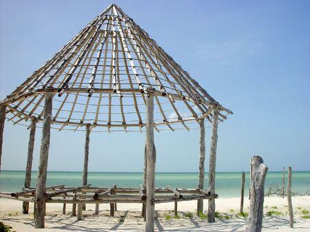 palapa: hut palapa construction wooden structure Holbox Mexico Caribbean sea