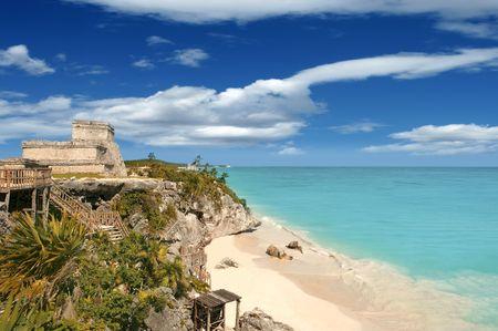 roo: Tulum mayan ruins caribbean sea in Mexico Quintana Roo
