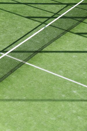 paddle tennis green grass field texture white lines photo