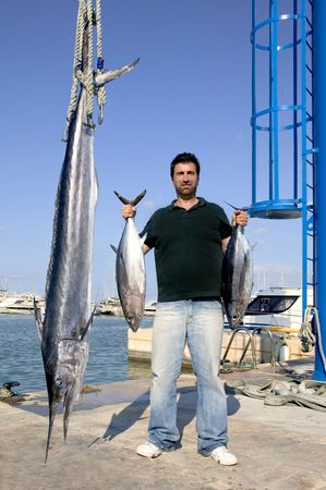 angler fish catch albacore tuna and spearfish mediterranean photo