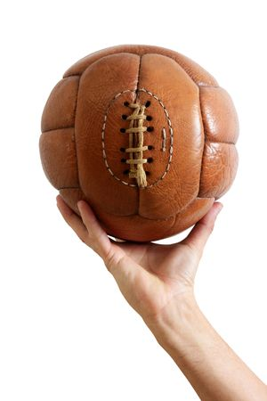 Football ball vintage retro brown leather in man hand photo