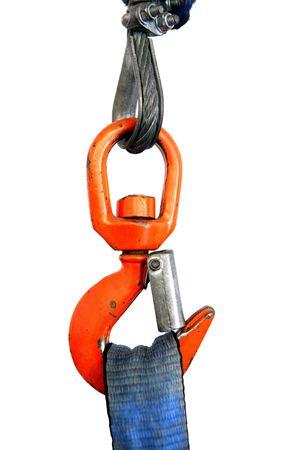 Gancho de la grúa de naranja coloridos sosteniendo el detalle de la cuerda de cinta azul