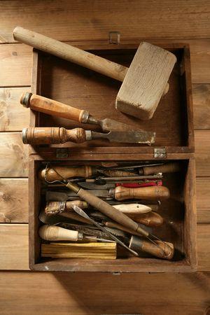craftman: carpenter artist wooden craftman toolbox over wood background