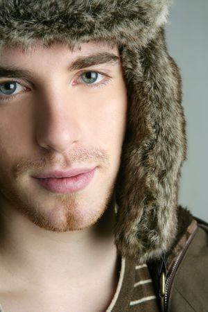 fur winter fashion hat young man brown autumn color Stock Photo - 6779477