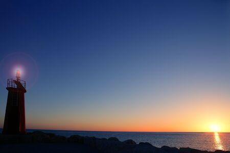 sunset on sea water ocean horizon in Mediterranean Stock Photo - 6846605