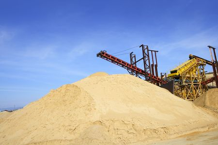 sand quarry: construction sand quarry mountain installation machinery Stock Photo