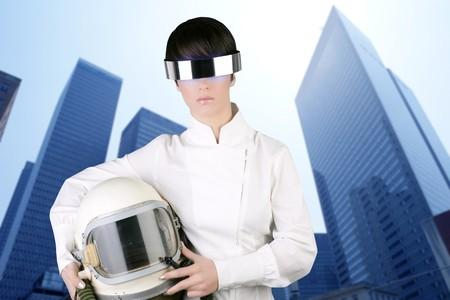 futuristic spaceship aircraft astronaut helmet woman modern skyscraper mirror city buildings photo