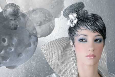 fahion makeup hairstyle woman futuristic trendy silver portrait photo