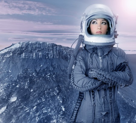 futuristic girl: astronaut woman futuristic metaphor moon out space planets