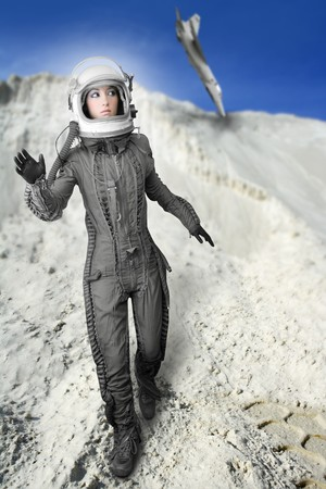 astronaut fashion womanaircraft crash space suit helmet moon landscape photo