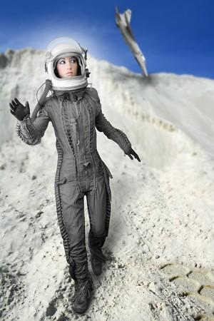 space suit: astronaut fashion womanaircraft crash space suit helmet moon landscape