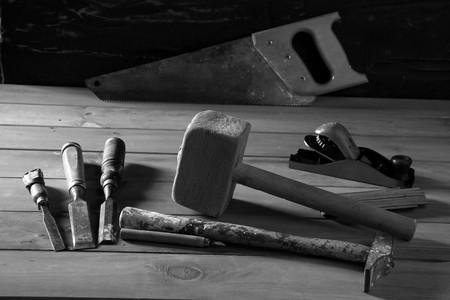 carpenter craftman hand tools saw hammer wood tape plane gouge photo