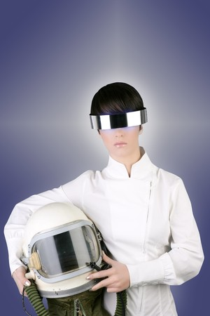 futuristic spaceship aircraft astronaut helmet woman space metaphor Stock Photo - 6985490