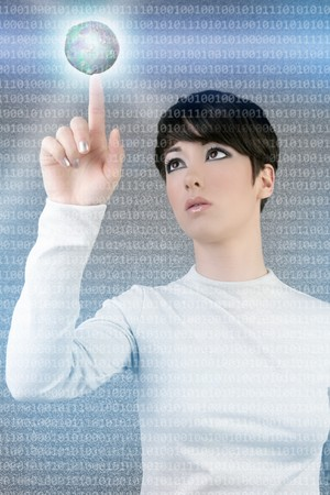 digital futuristic businesswoman magic light global planet finger touch photo