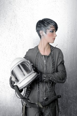 major force: fashion silver woman spaceship astronaut helmet space metaphor