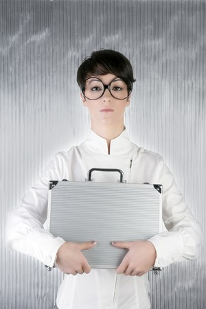 funny humor businesswoman big round glasses holding silver briefcase photo