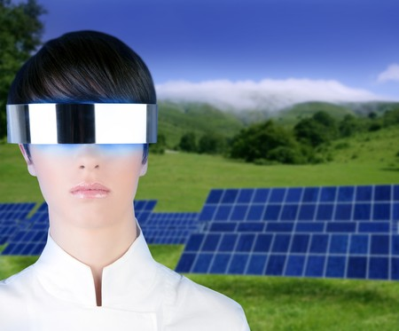 silver futuristic glasses woman solar plates in meadow outdoor Stock Photo - 6985577