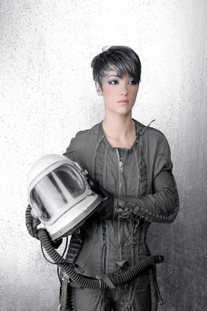 fashion silver woman spaceship astronaut helmet space metaphor photo