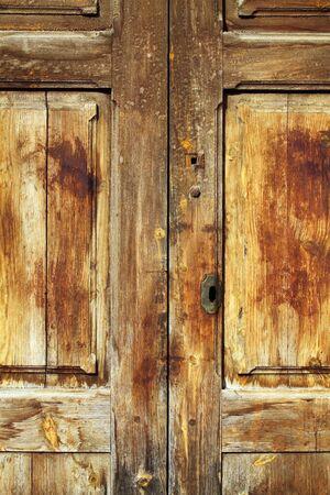 aged golden weathered wooden door retro vintage photo