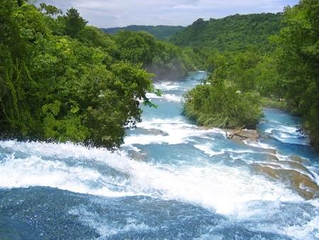 Agua Azul waterfalls blue water river in Chiapas Mexico photo