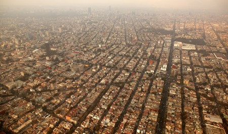 mexico df city town aerial view from airplane central america